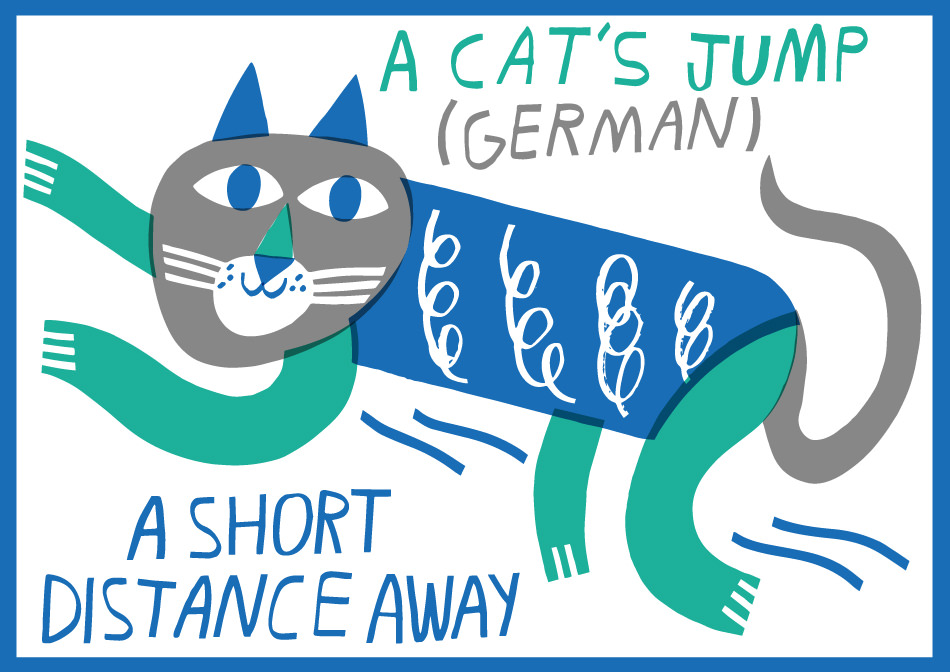 German idiom in English A cat's jump ABA English