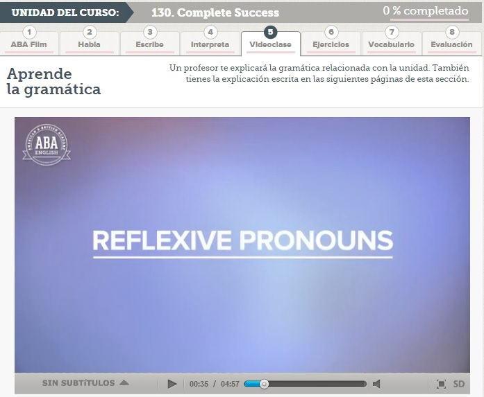 Advanced grammar reflexive pronouns ABA English