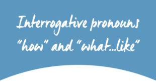 Interrogative pronouns how and what like ABA English