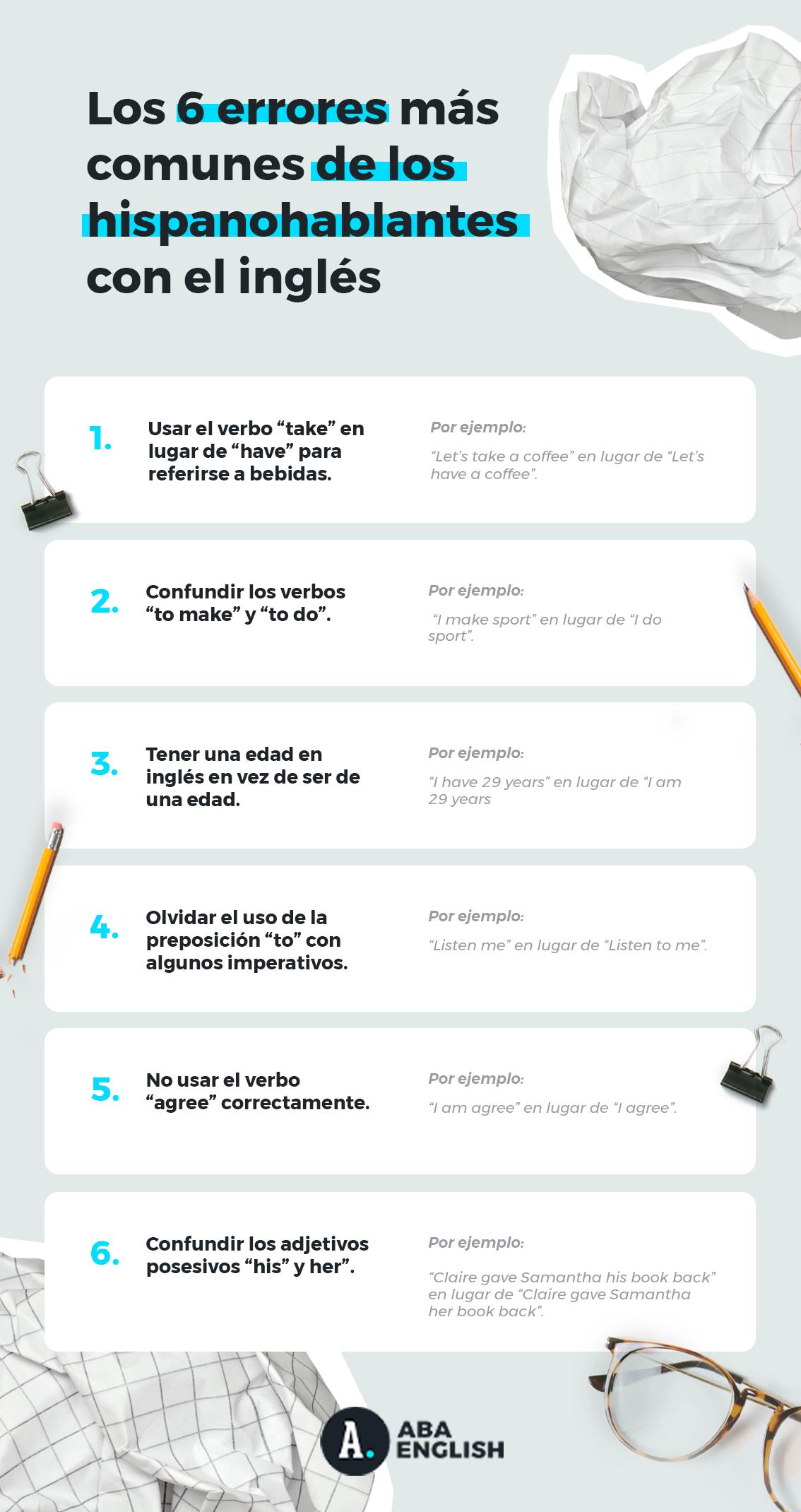 Seis errores en ingles de los hispanohablantes