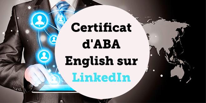 Certificat d'ABA English sur LinkedIn - ABA English